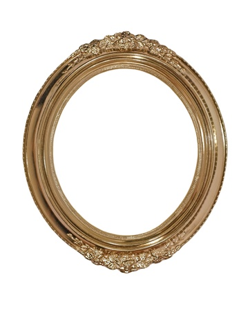 Golden oval photo frame isolated on white background. Stock Photo - 16457057