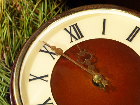Old dial of hours on the eve of new year  photo