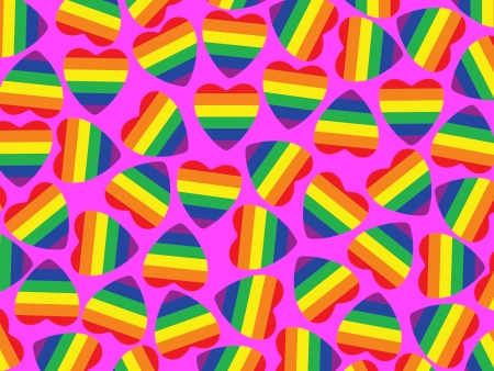 Background made from hearts with gay pride flag inside on pink