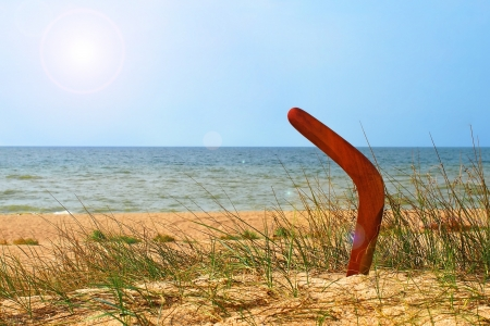 Landscape with boomerang on overgrown sandy beach against blue sea and sky.