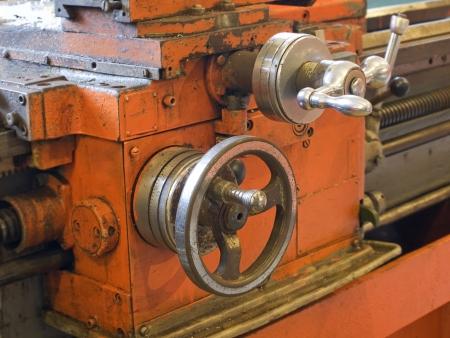 Lathe in workshop taken closeup.Mechanical engineering. photo