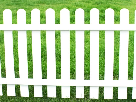 hinder: White fence and green grass taken closeup