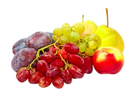 Ripe plums,grape,apples and pear taken closeup isolated on white background  photo