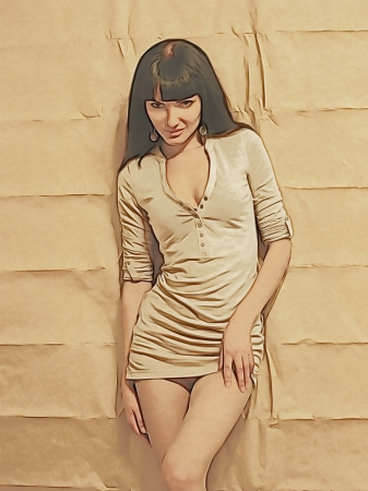 Cute brunette on paper wall background.Digitally generated image. Stock Photo
