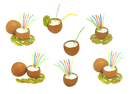 Set of coconuts with a milk- shake and kiwi isolated on white background