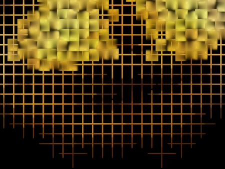 digitally generated image: Yellow cube abstract background Digitally generated image