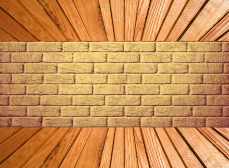 Yellow brick wall and wooden plank floor perspective Abstract background  photo