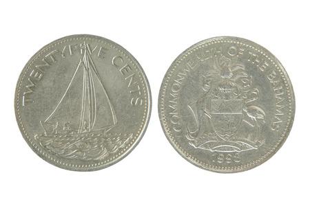 twenty five: Commonwealth de las Bahamas veinticinco centavos aislados en blanco