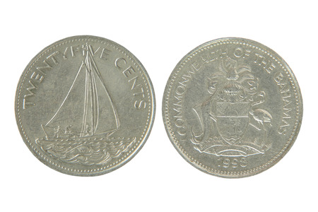 25 cents: Commonwealth of the bahamas twenty five cents isolated on white