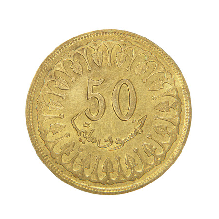 numismatic: Fifty tunisian milleme taken closeup isolated on white  Stock Photo