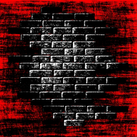 Grungy red abstract background with dark bricks inside Stock Photo