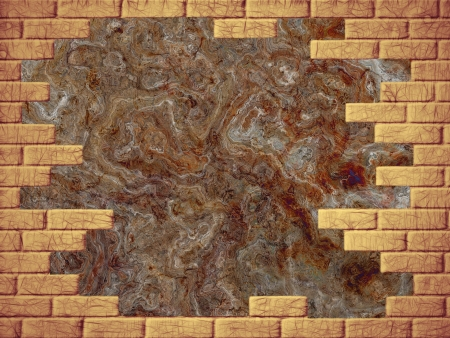 virtual reality simulator: Grungy brown abstract background and yellow brick frame Stock Photo