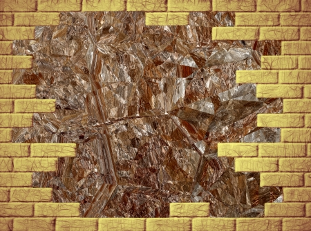 virtual reality simulator: Brown abstract background with yellow brick frame Stock Photo