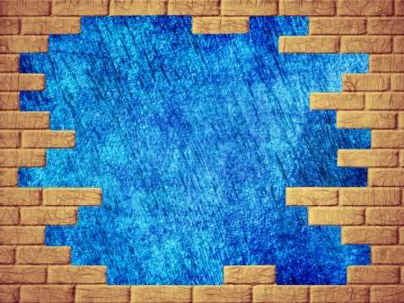 virtual reality simulator: Grungy blue abstract background and yellow brick frame