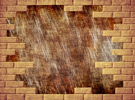 virtual reality simulator: Brown grungy abstract background and yellow brick frame