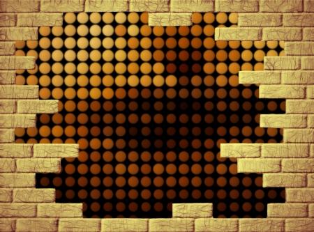 singular: Abstract singular background with yellow brick frame