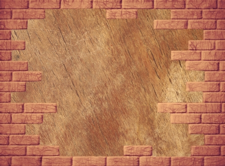 virtual reality simulator: Wooden abstract background with yellow brick frame