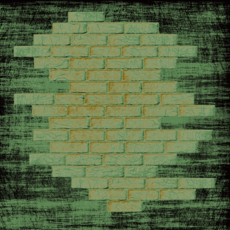 virtual reality simulator: Grungy green abstract background with bricks wall inside.Digitally generated image.