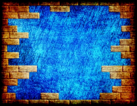 Blue grungy abstract background whith yellow brick frame.Digitally generated image. photo