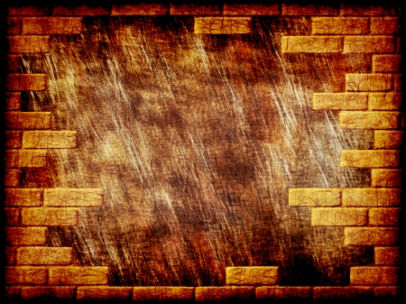 virtual reality simulator: Brown grungy abstract background with yellow brick frame border.Digitally generated image. Stock Photo