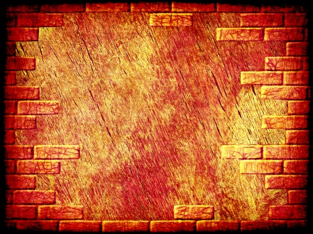 virtual reality simulator: Grungy abstract background with brick frame border.Digitally generated image. Stock Photo