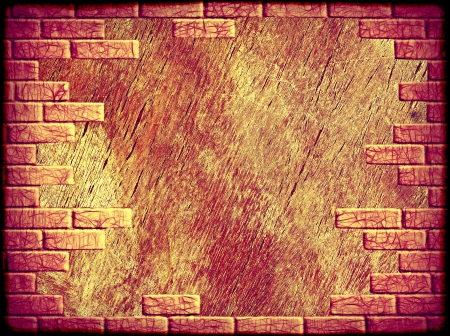 Grungy abstract background with yellow and purple brick frame border.Digitally generated image. photo