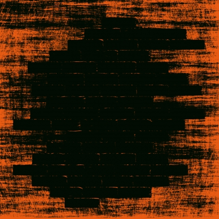 Orange grungy abstract background with black bricks shape inside.Digitally generated image.