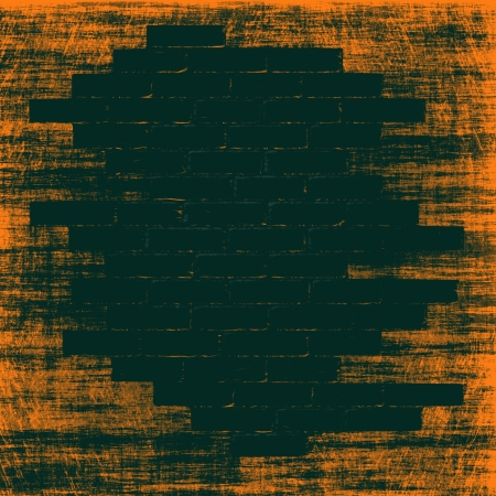 Orange grungy abstract background with black bricks inside.Digitally generated image. photo