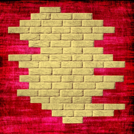 Grungy red abstract background with yellow bricks inside.Digitally generated image. photo