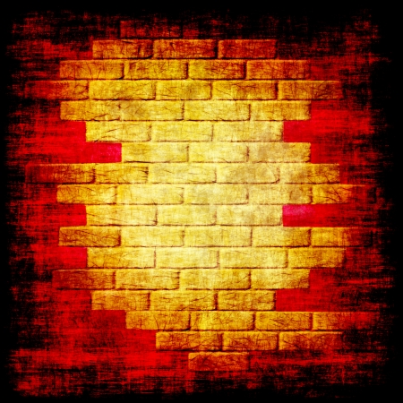 Yellow bricks on grungy red and background .Digitally generated image. photo