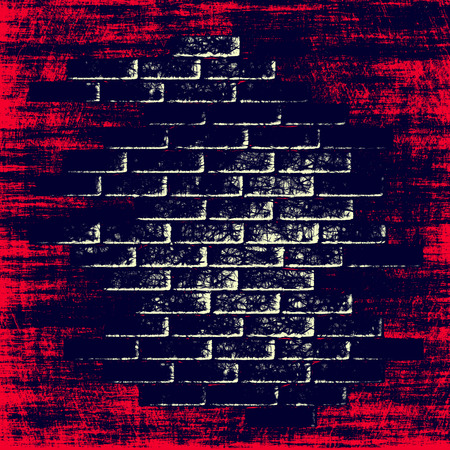 digitally generated image: Red grungy abstract background with dark bricks inside Digitally generated image