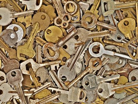 Old metal keys taken closeup suitable as background