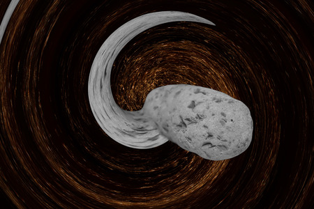 twirled: Asteroid comes nearer from abstract twirled space.Digitally generated image. Stock Photo