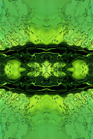 virtual reality simulator: Stylized green liquid abstract .Digitally generated image.