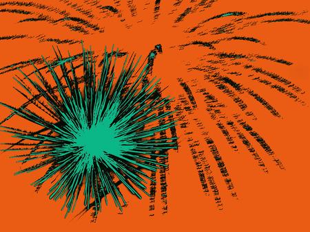 azure: Azure abstract fireworks on  ochre