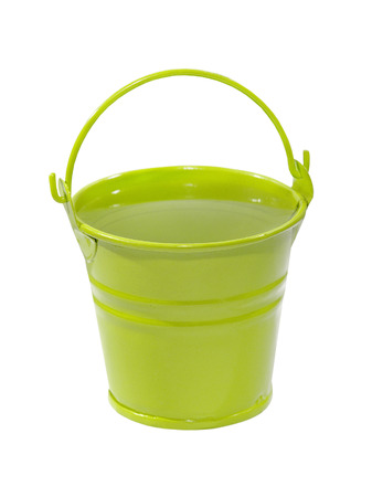 Green bucket with clean water isolated on white background. photo