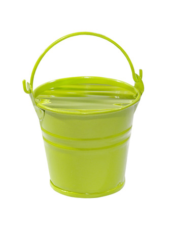 Green bucket with water isolated on white background. photo