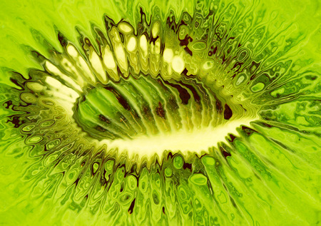 taken: Stylized green kiwi taken closeup as food  Stock Photo