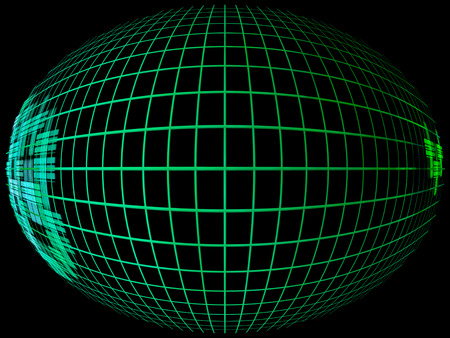 globe grid: Green abstract globe silhouette with meridians grid in darkness.Digitally generated image. Stock Photo