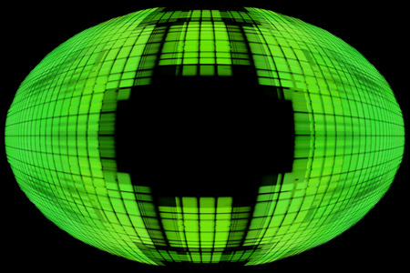 Green globe shape on black background with empty space inside.Digitally generated image. Stock Photo