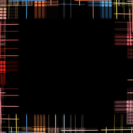 virtual reality simulator: Black background with multicolored checkered pattern as frame border.Digitally generated image. Stock Photo