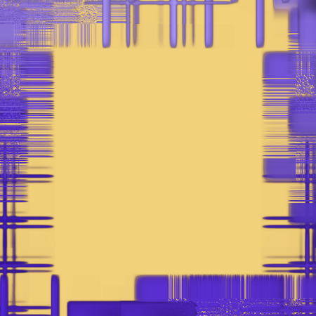 virtual reality simulator: Abstract yellow background with purple checkered pattern as frame border.Digitally generated image.