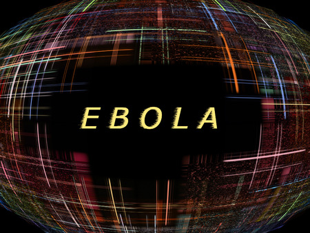 Multicolored abstract globe shape on black background with text.Ebola Virus Epidemic concept.Digitally generated image. photo
