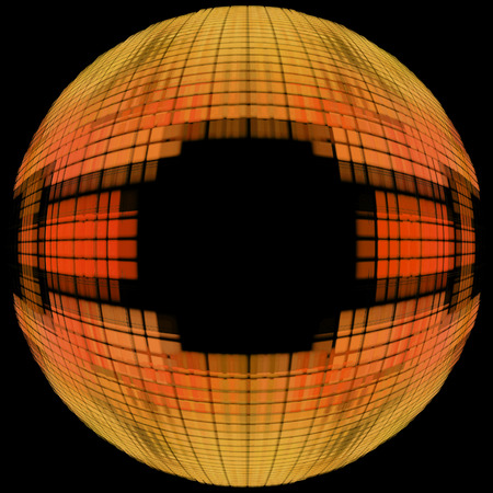 Orange globe shape on black background with empty space inside.Digitally generated image. Stock Photo