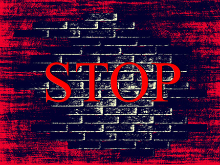 fascism: Red grunge brick shape background with word STOP inside.Digitally generated image. Stock Photo