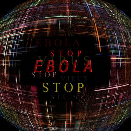 Abstract globe shape on black background with text.Ebola Virus Epidemic concept.Digitally generated image. photo