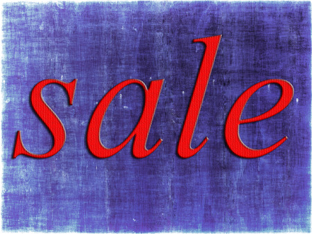 thrifty: Red sale tag on purple grunge background.