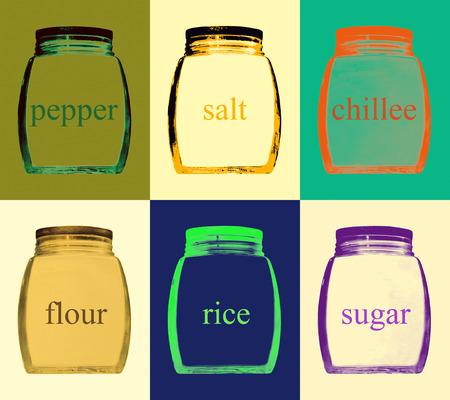 labeled: Set of multicolored kitchen jar on color background.