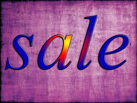 purple grunge: Blue sale tag on purple grunge wooden background.