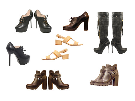 hessian boots: Set of varios woman shoes isolated on white backround. Stock Photo